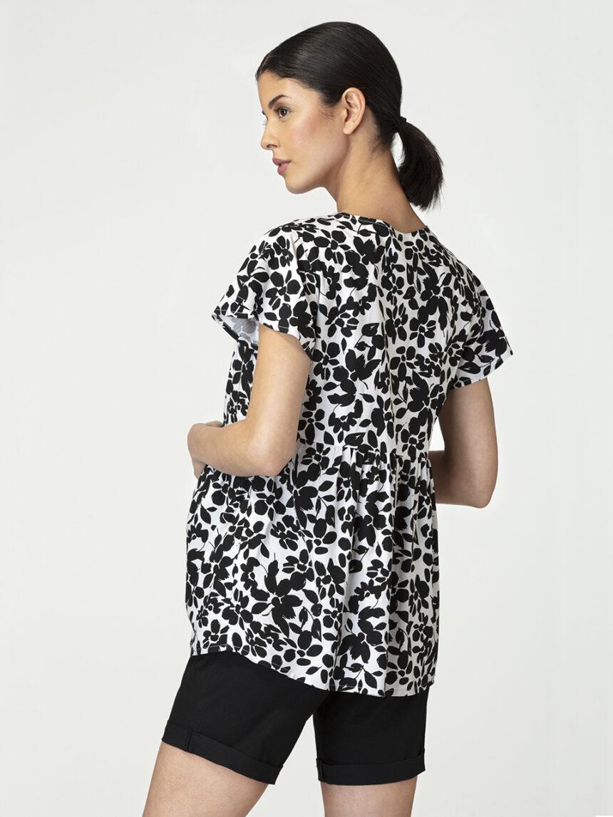 Blusa de amamentação para maternidade com mangas curtas e estampa floral em preto e branco - Prénatal