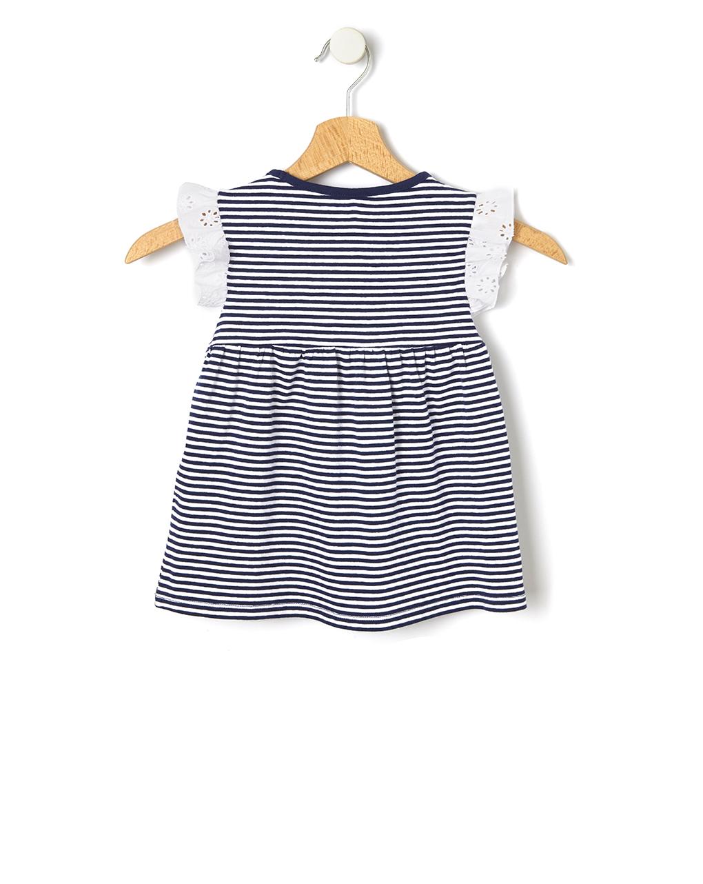 Camiseta listrada com inserções de broderie anglaise - Prénatal