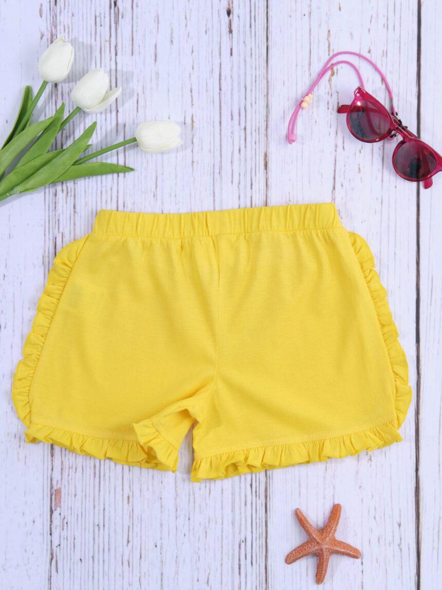 Shorts de menina amarelo sólido - Prénatal