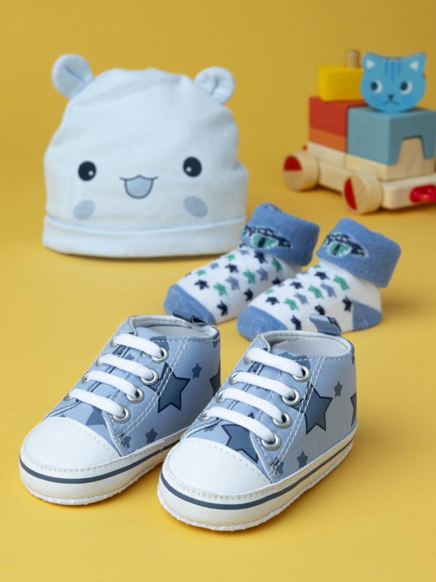 Conjunto de chapéu, meias e sapatos de menino azul - Prénatal