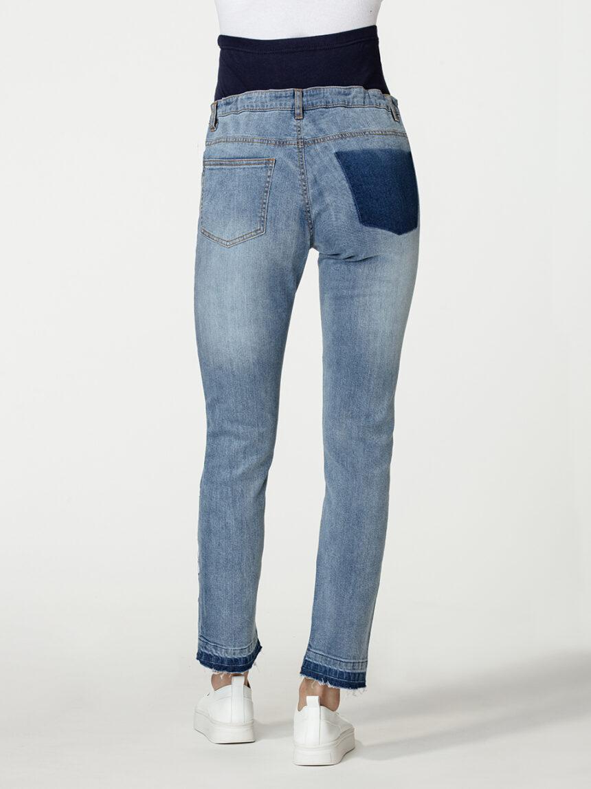 Calça jeans maternidade com bordado de flores - Prénatal