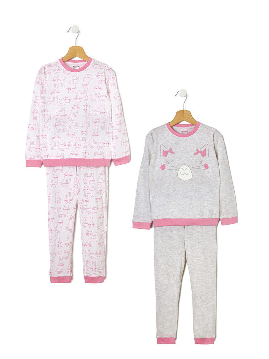 Pacote de 2 pijamas com estampa de gato - Prénatal