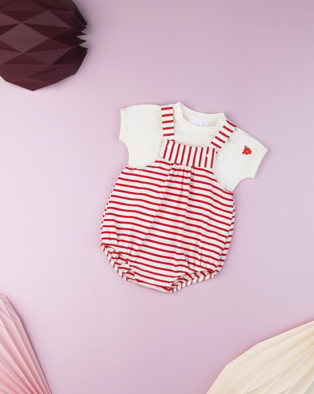 """Conjunto de macacão recém-nascido """"listrado vermelho"""" - Prénatal"""