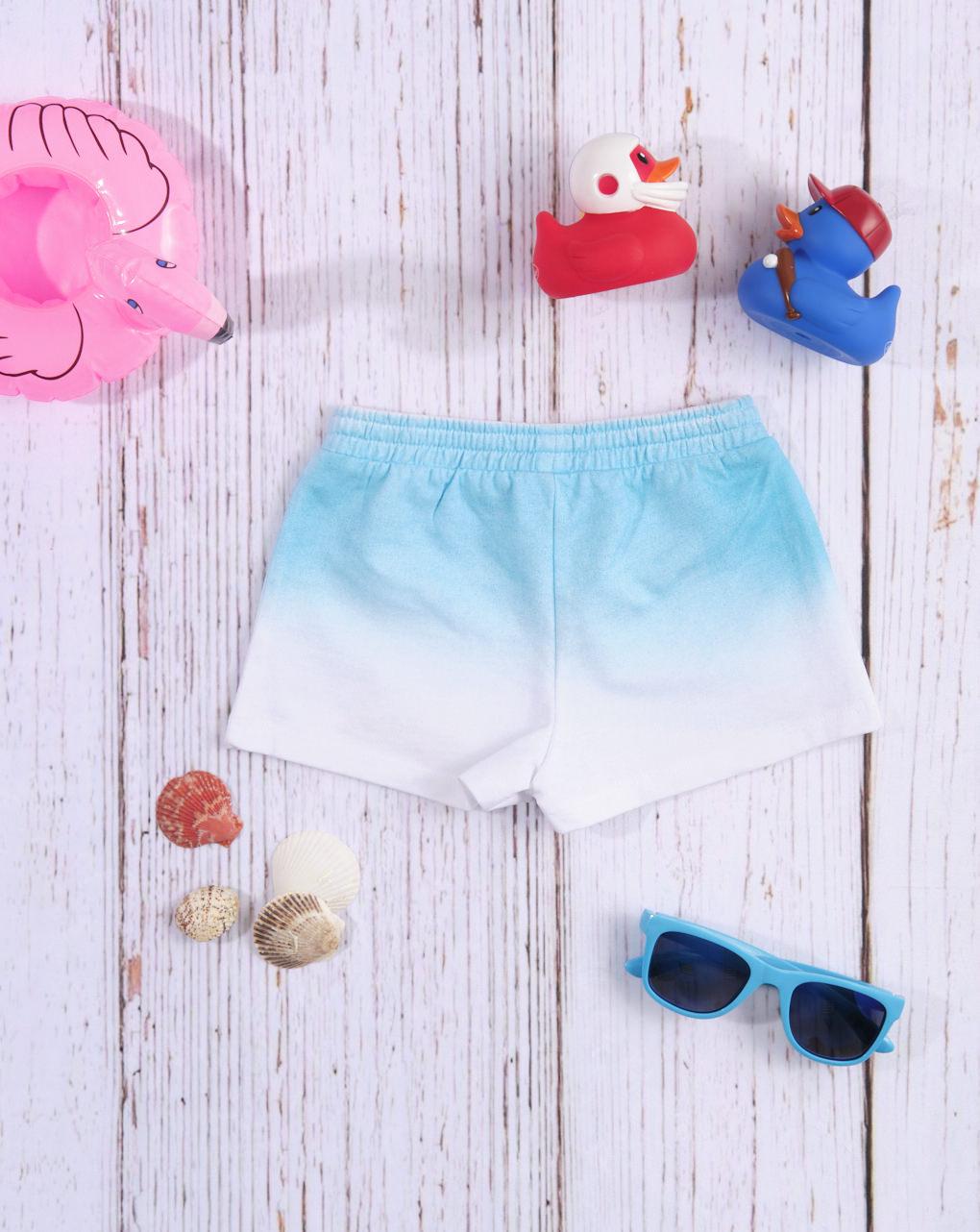 Shorts de jersey azul claro / branco com efeito gradiente - Prénatal