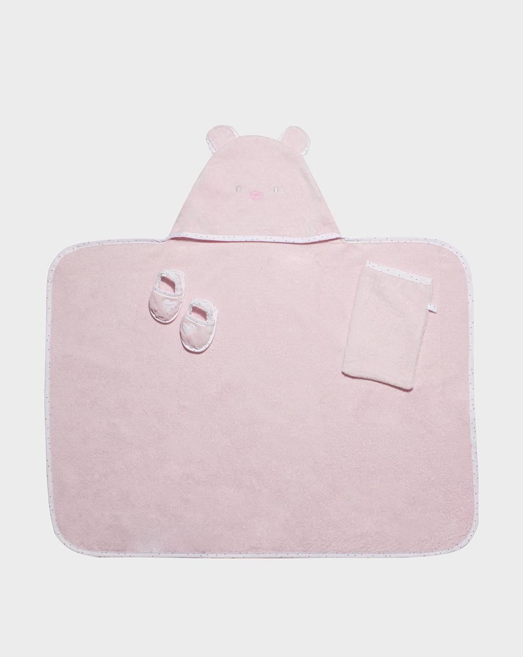 Roupão rosa com chinelos e maçaneta - Prénatal