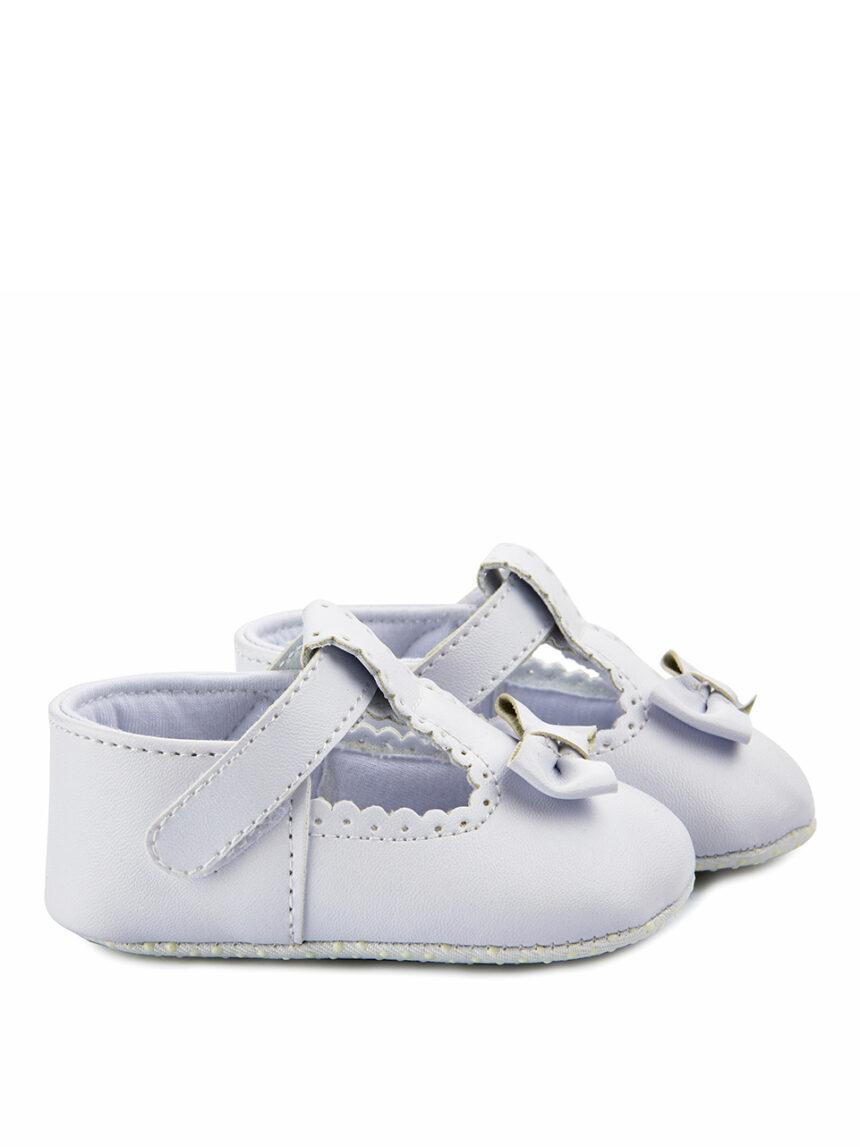Sapatos de couro sintético branco com laço - Prénatal