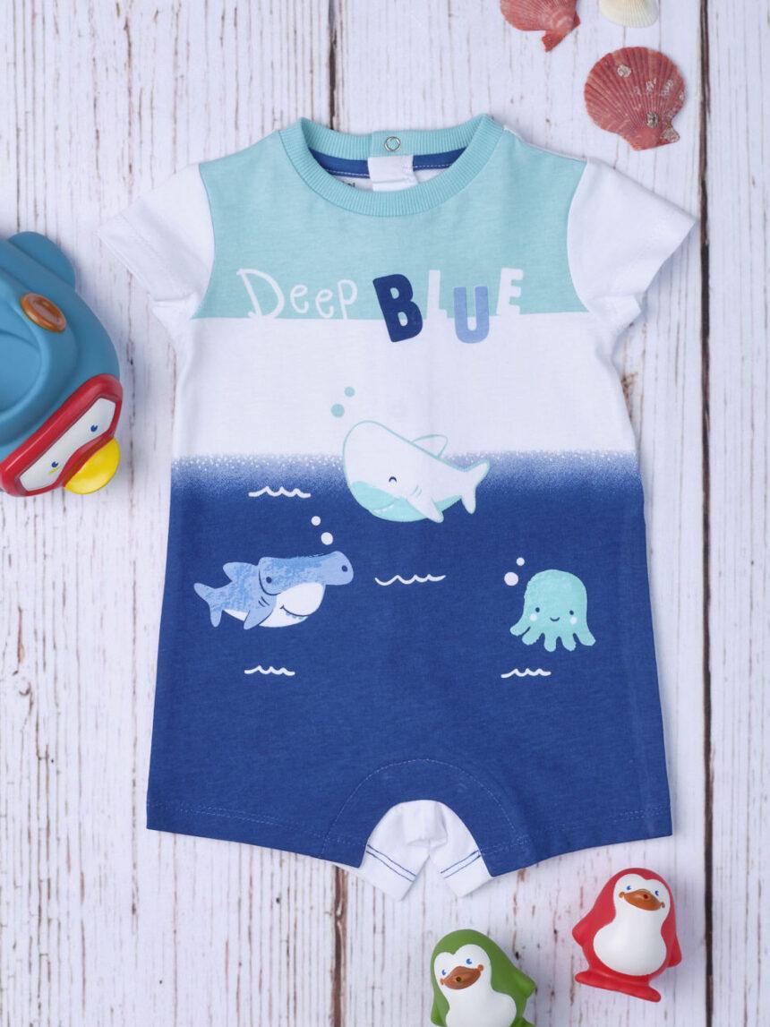 """Macacão de bebê """"azul profundo"""" - Prénatal"""