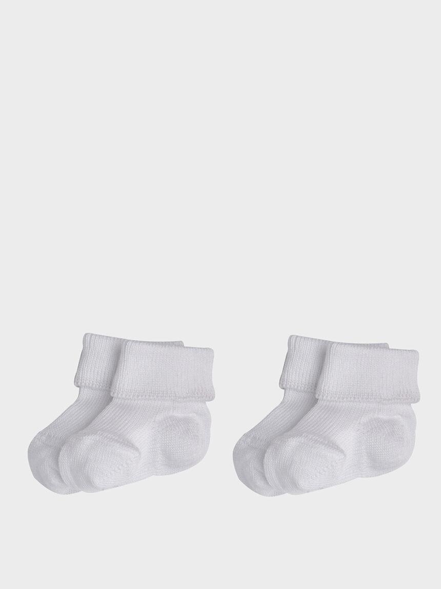 Pacote de 2 pares de meias prematuras de algodão branco - Prénatal