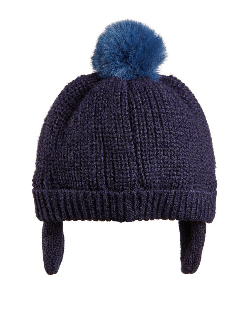 Chapéu de lã com pompons de pele - Prénatal