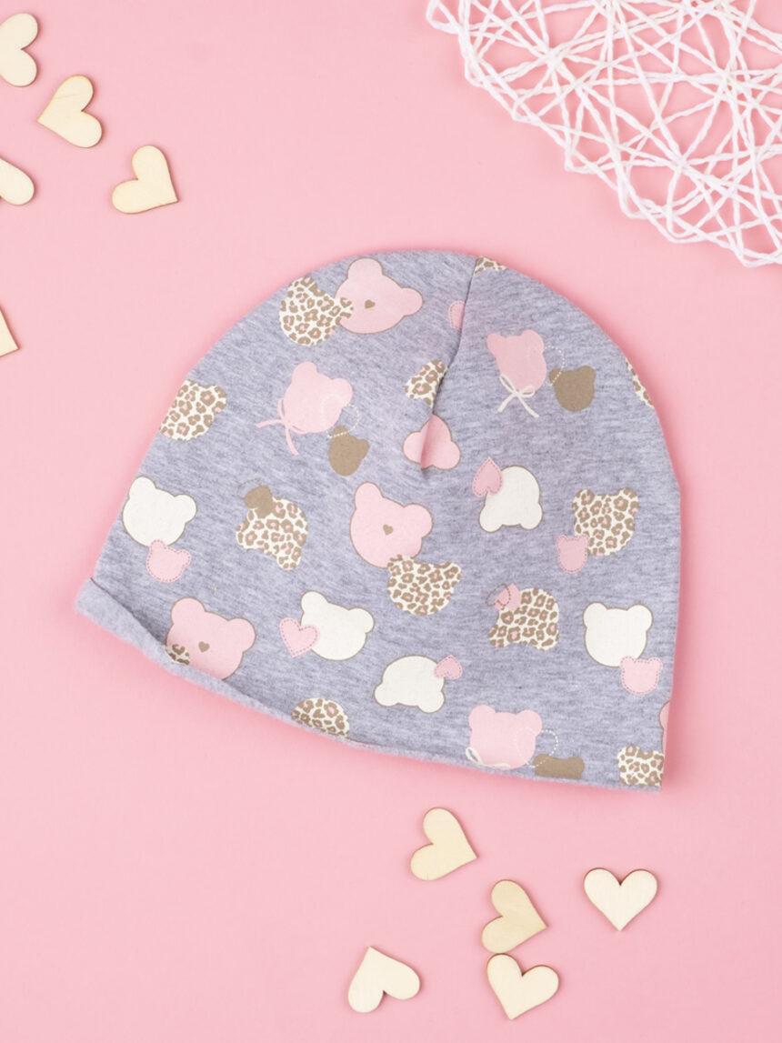 Chapéu de menina cinza com ursinhos de pelúcia - Prénatal