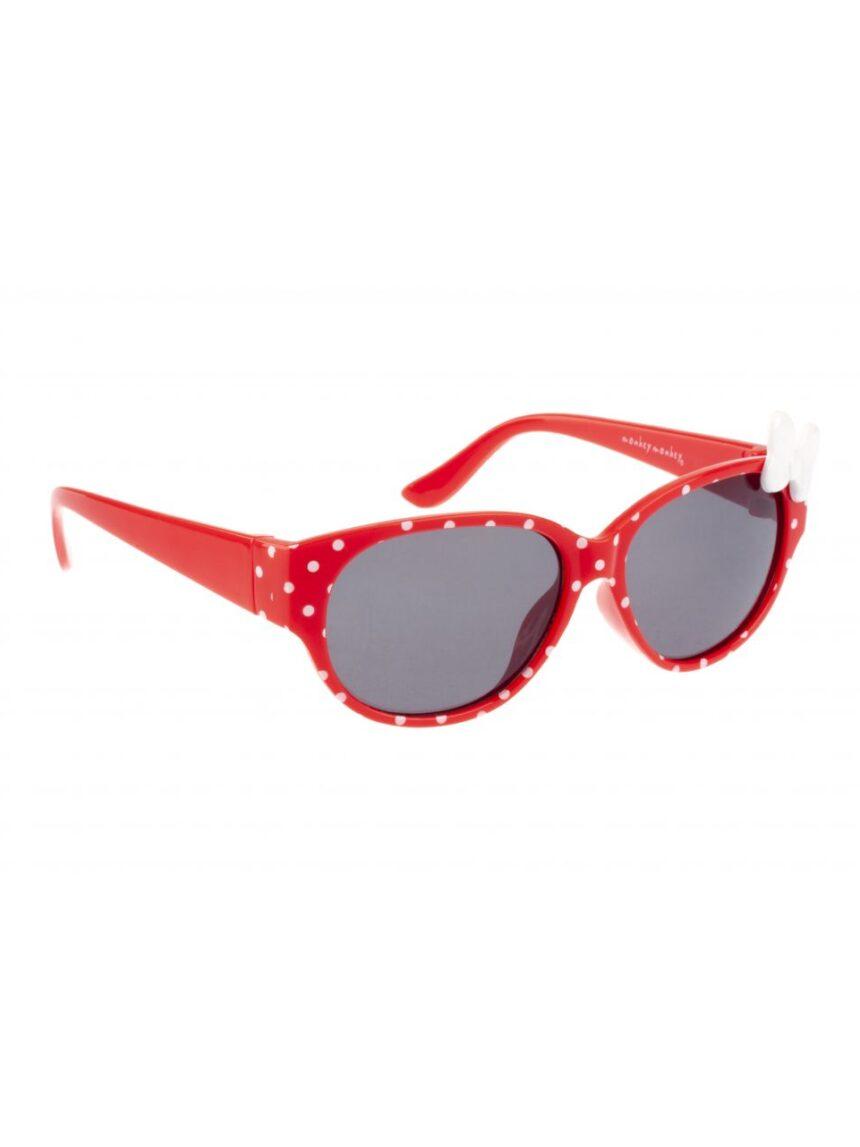 óculos de sol vermelhos com pontos de polca e arco - Monkey Monkey
