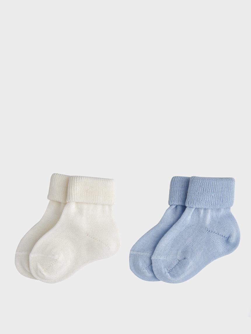 Pacote de 2 pares de meias azuis e brancas - Prénatal