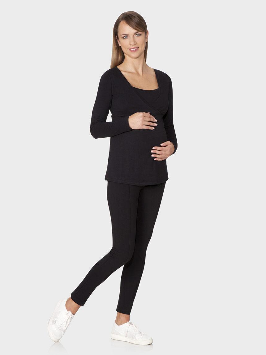 Camiseta preta de mangas compridas em tecido fedding - Prénatal
