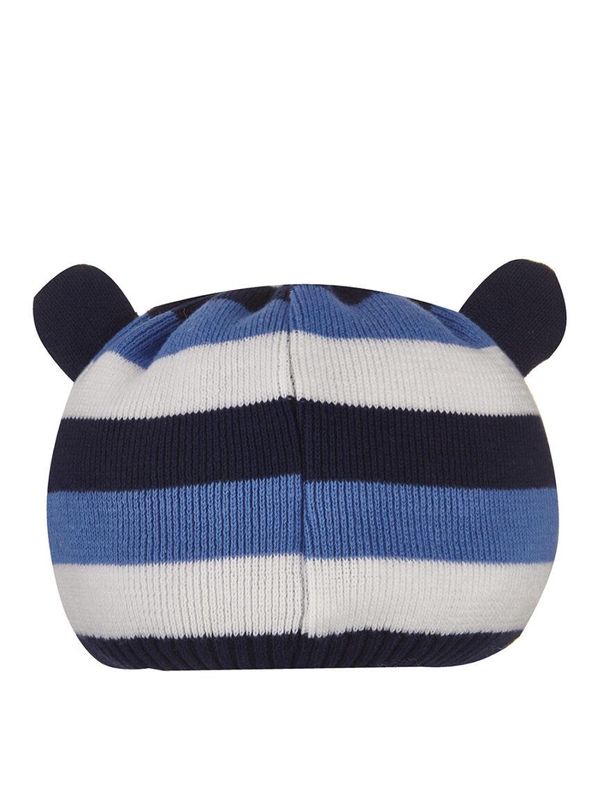 Chapéu de tricô listrado com orelhas aplicadas - Prénatal