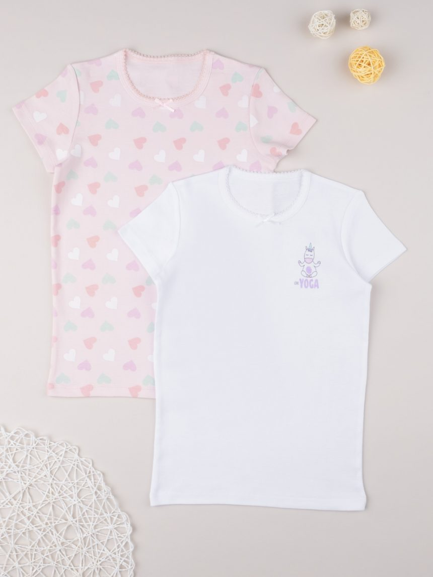 "Pack 2 t-shirt íntima menina ""corações"" - Prénatal"