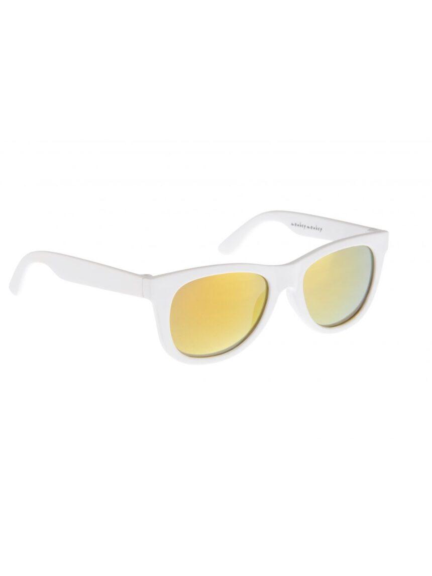 óculos de sol de borracha branca com lentes de espelho - Monkey Monkey