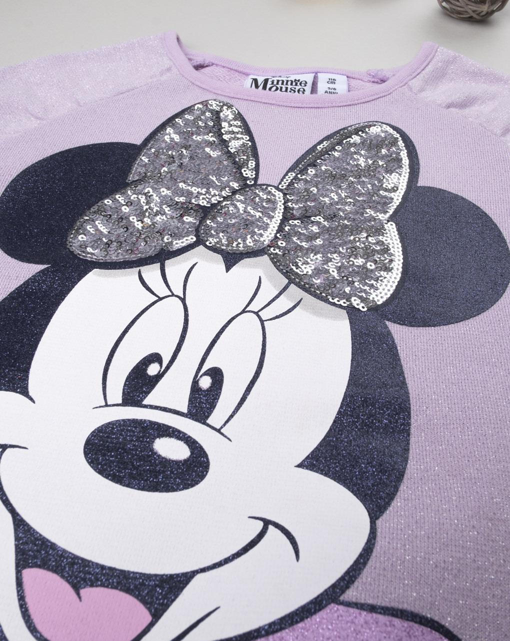 """Moletom de menina lilás """"minnie"""" - Prénatal"""