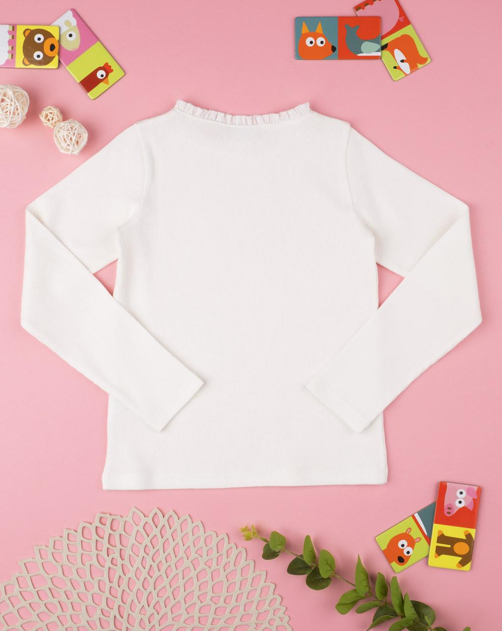 Camiseta costina menina branca - Prénatal