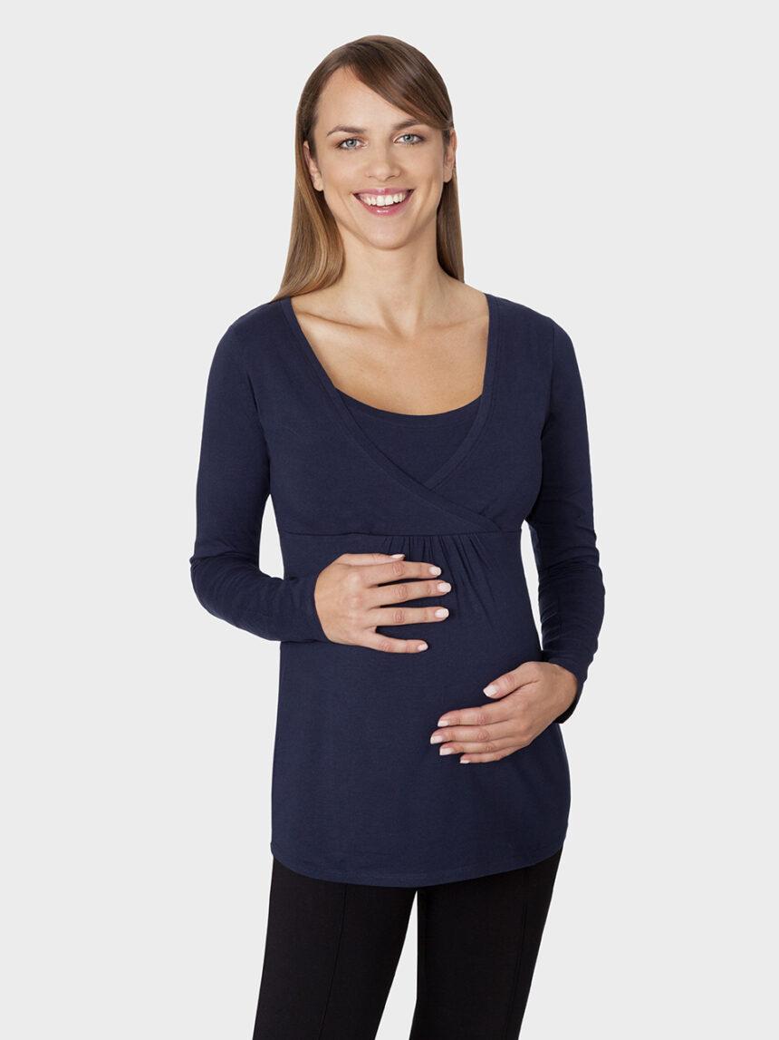 Camiseta de manga comprida azul escuro na alimentação - Prénatal