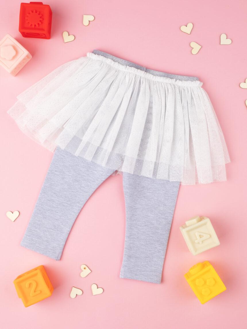 Leggings con vai cinza e branco bebê - Prénatal