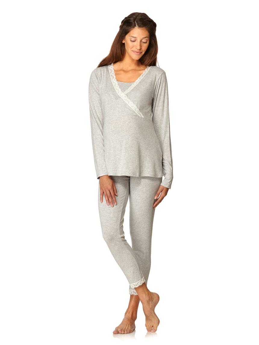 Pijama de enfermagem cinza claro com renda branca - Prénatal