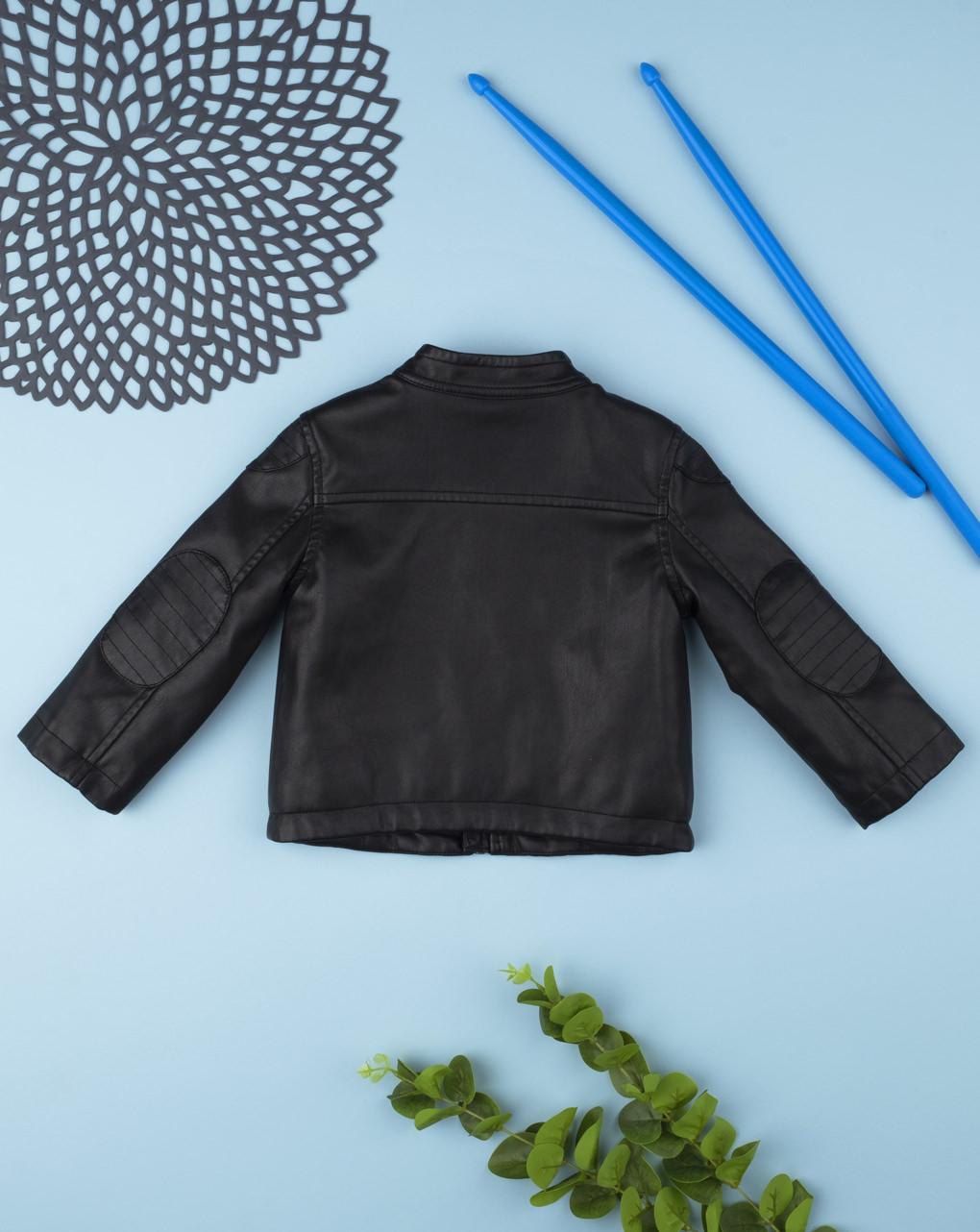 Jaqueta preta de couro sintético - Prénatal