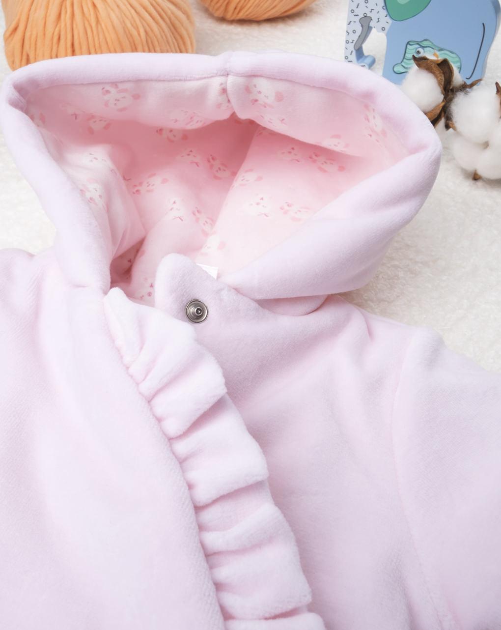 Jaqueta rosa menina chenille - Prénatal