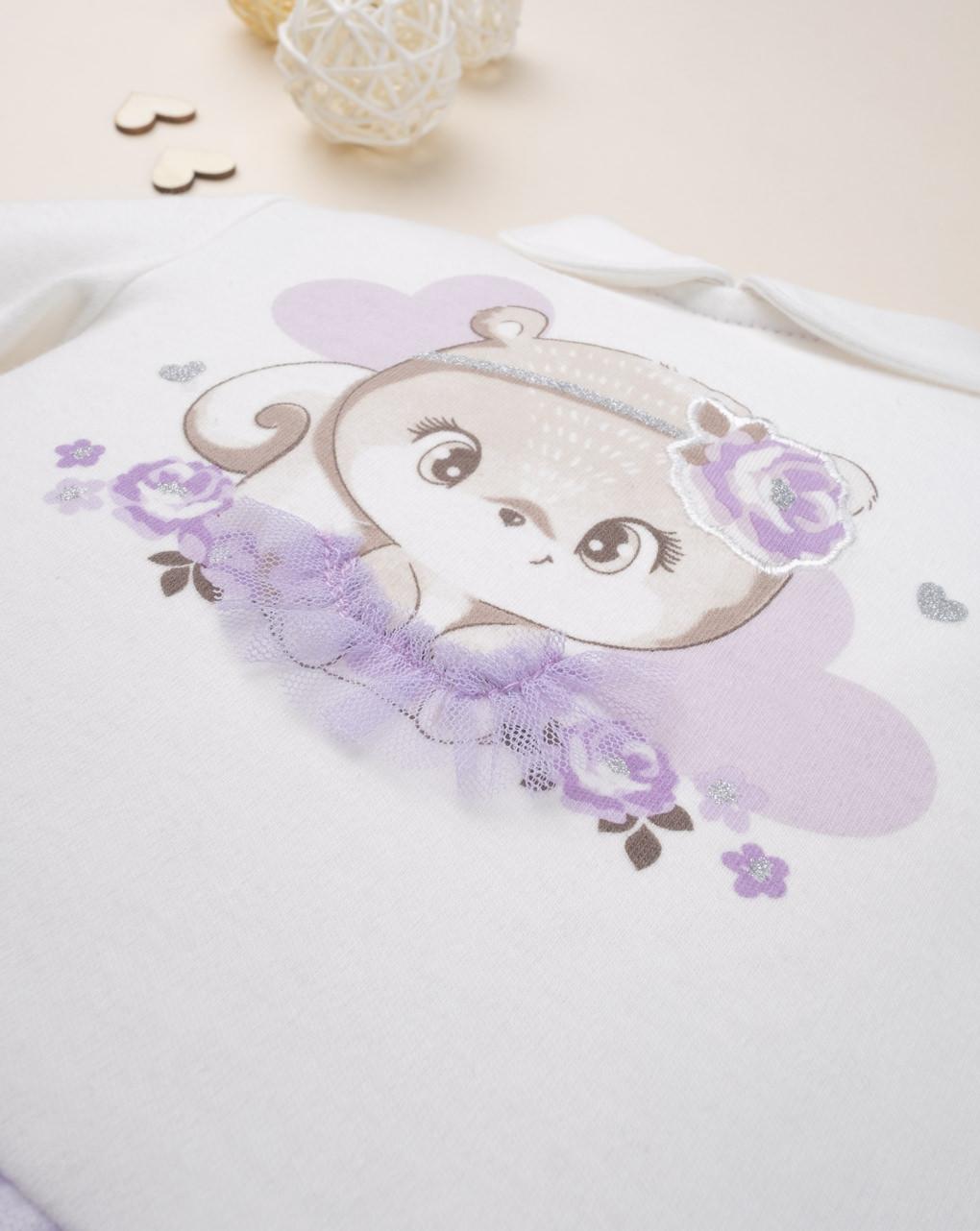 "Roupa de menina ""urso lilás"" - Prénatal"