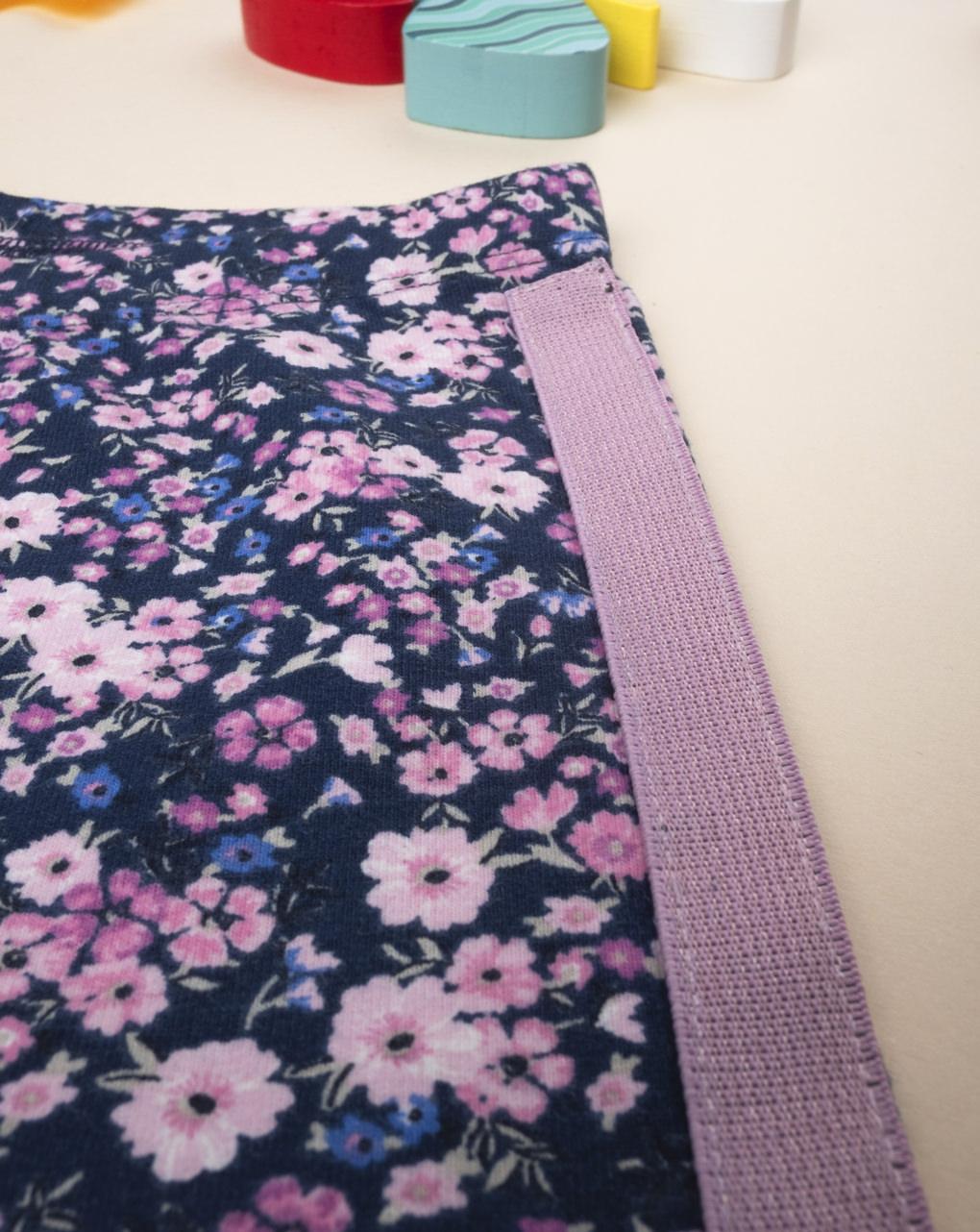 Leggings de flor lilás com banda lateral - Prénatal