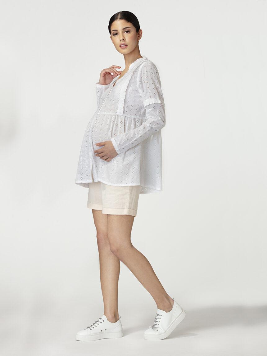 Camisa branca broderie anglaise - Prénatal