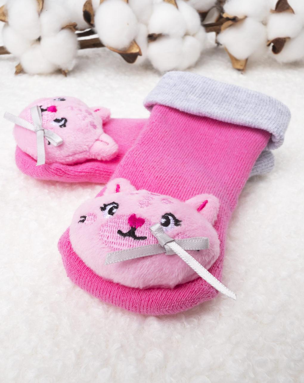 Meias de menina com chocalho rosa - Prénatal