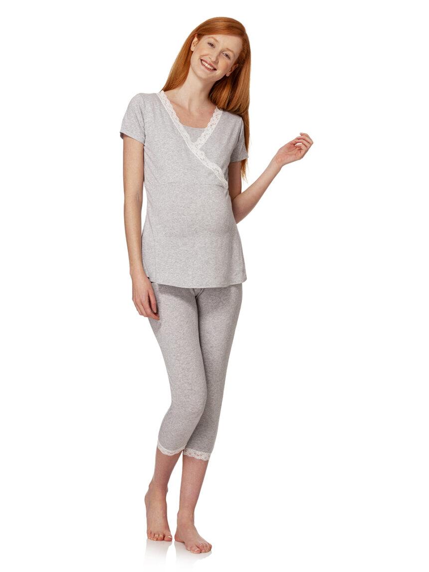 Pijama de enfermagem cinza com mangas curtas e renda branca - Prénatal