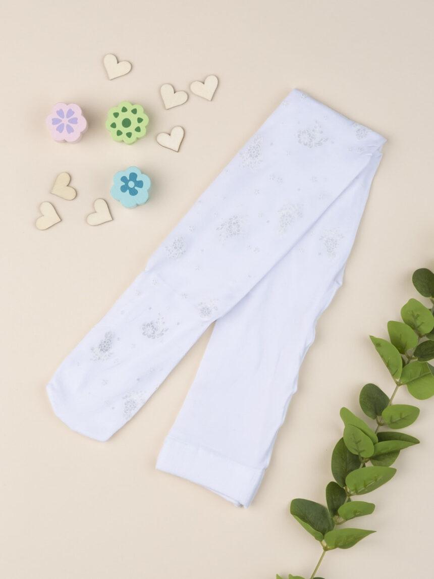 Meia-calça de menina com bordado floral - Prénatal