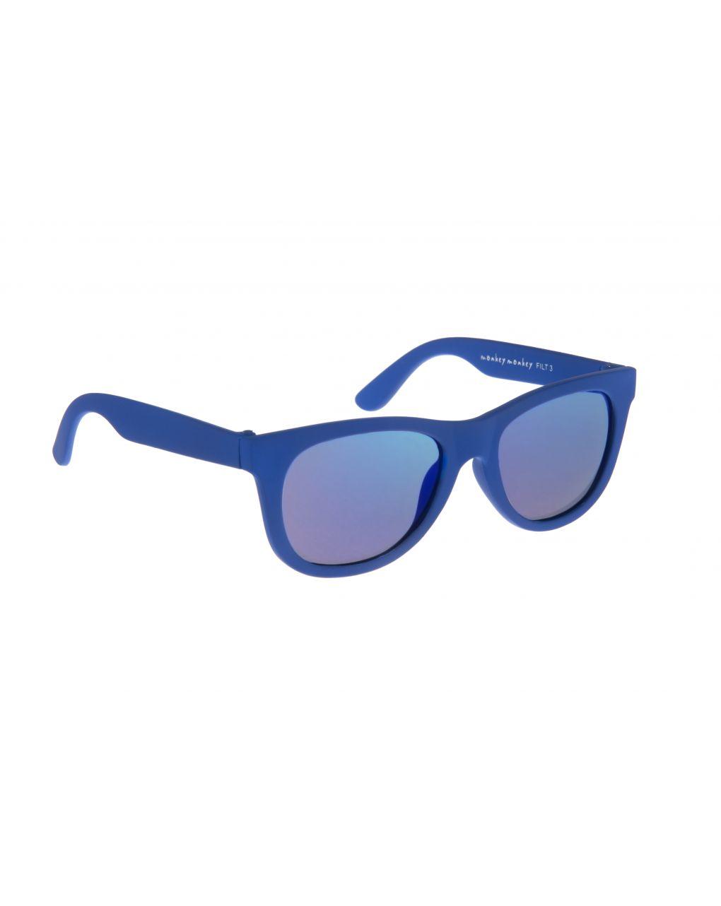 óculos de sol de borracha azul com lentes de espelho - Monkey Monkey