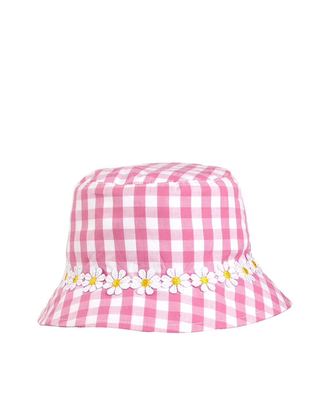 Chapéu estampado vichy com decoração de margaridas - Prénatal