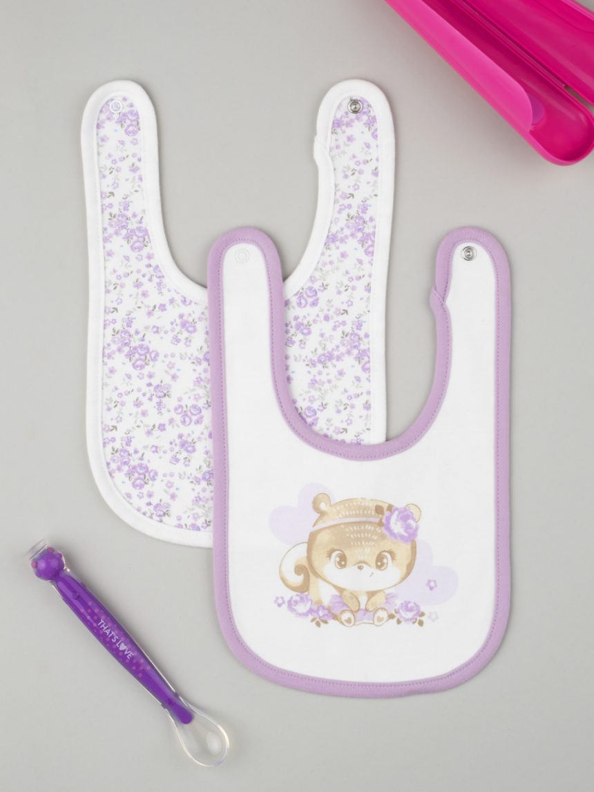 Pacote de 2 babadores lilás para meninas - Prénatal
