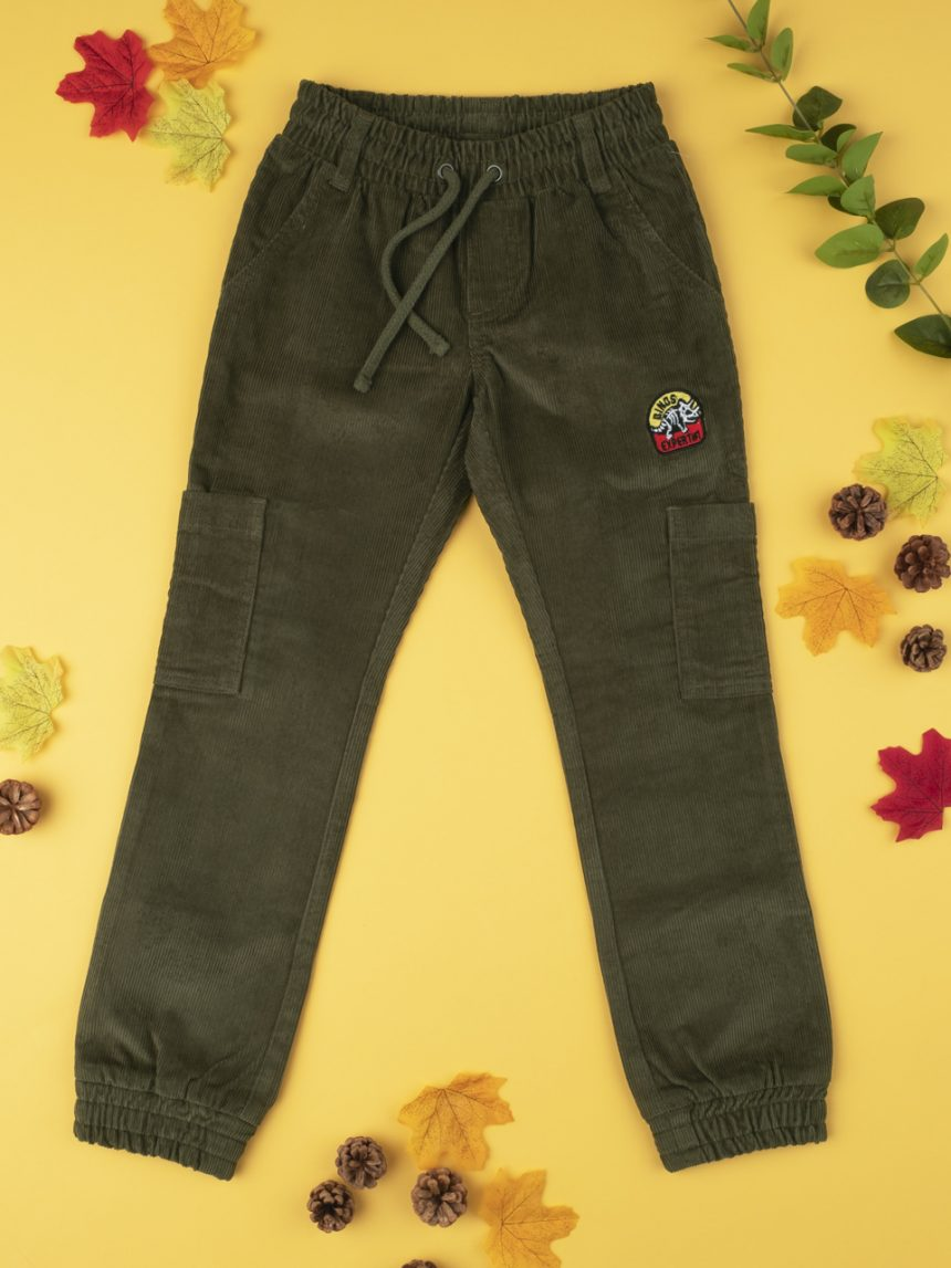 Calças de veludo verde menino - Prénatal