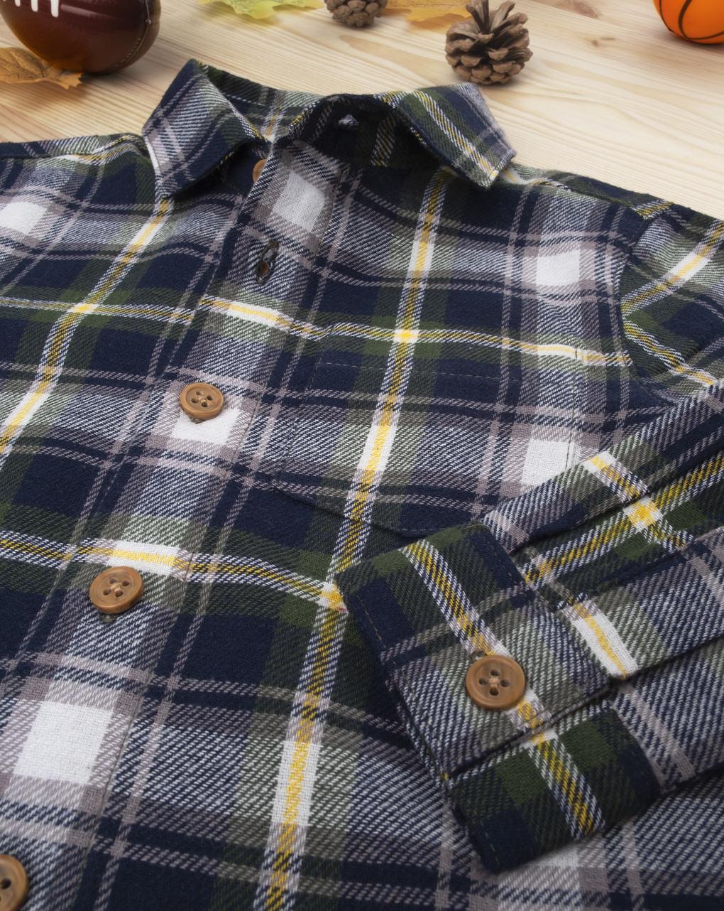 Camisa xadrez azul bebê menino - Prénatal