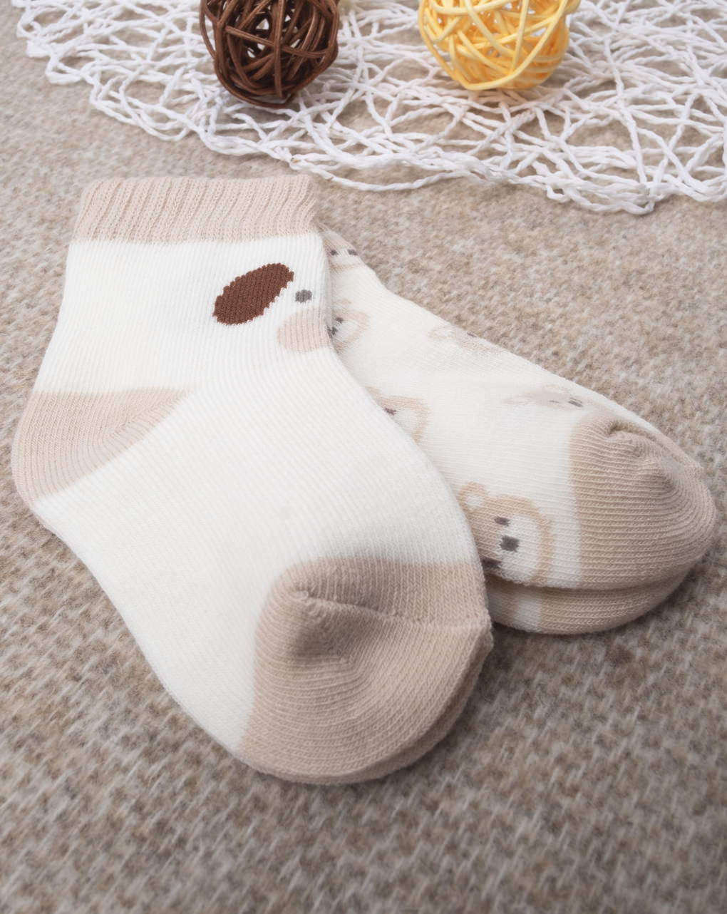 """Pacote de 2 meias masculinas """"cream & brown"""" - Prénatal"""