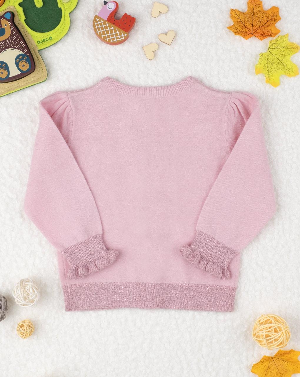 Suéter de cardigan tricot rosa feminino - Prénatal