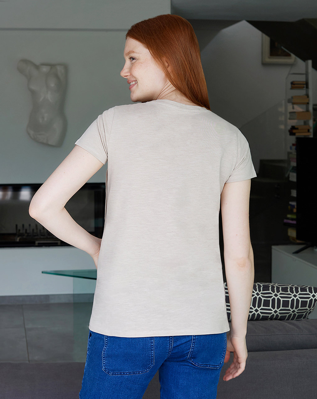 Camiseta de enfermagem materna com botões laterais - Prénatal