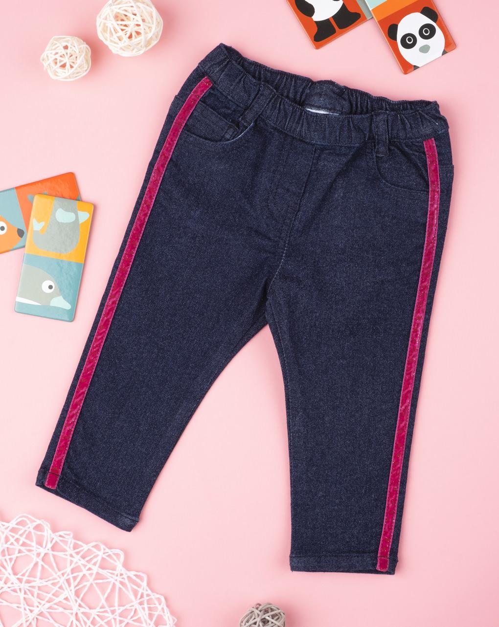 Calça jeans feminina azul mais listras - Prénatal