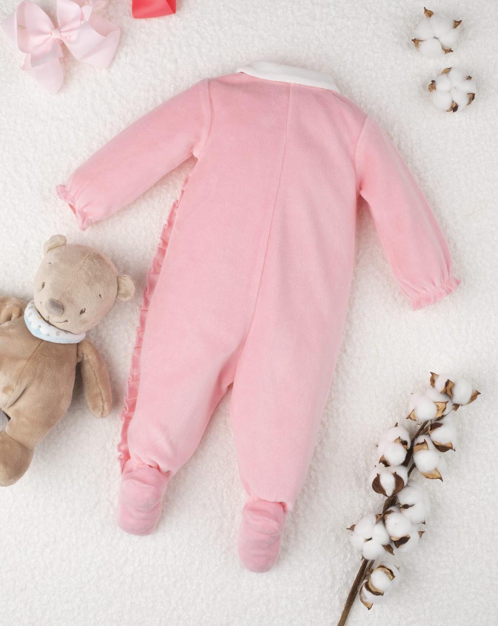 """Macacão feminino rosa chenille """"ursinhos de pelúcia"""" - Prénatal"""