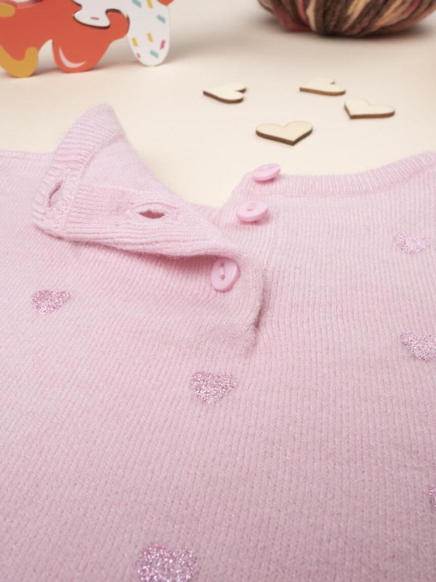 Suéter feminino de tricô rosa - Prénatal