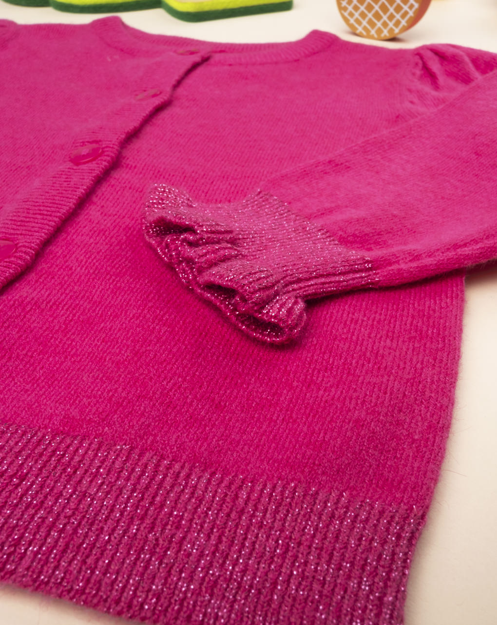 Suéter fúcsia tricot cardigan feminino - Prénatal