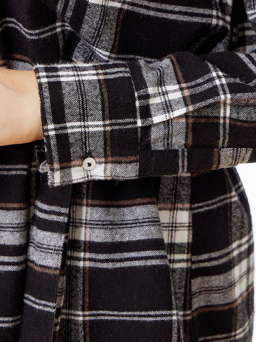 Camisa de algodão xadrez para maternidade e enfermagem - Prénatal