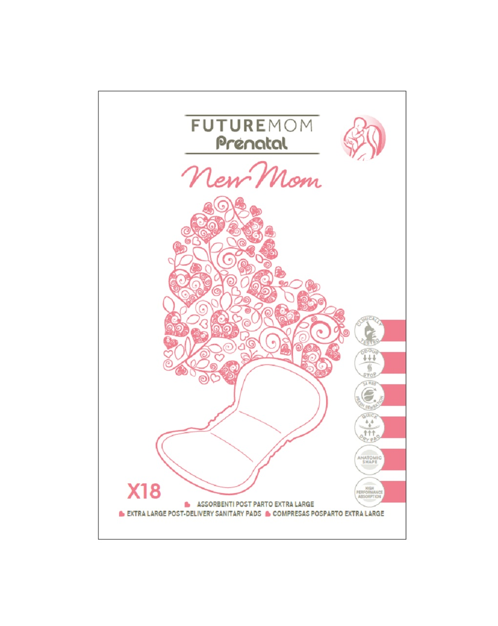 Compressas pós-parto extra grandes (18u.) - Prénatal, Prenatal 2