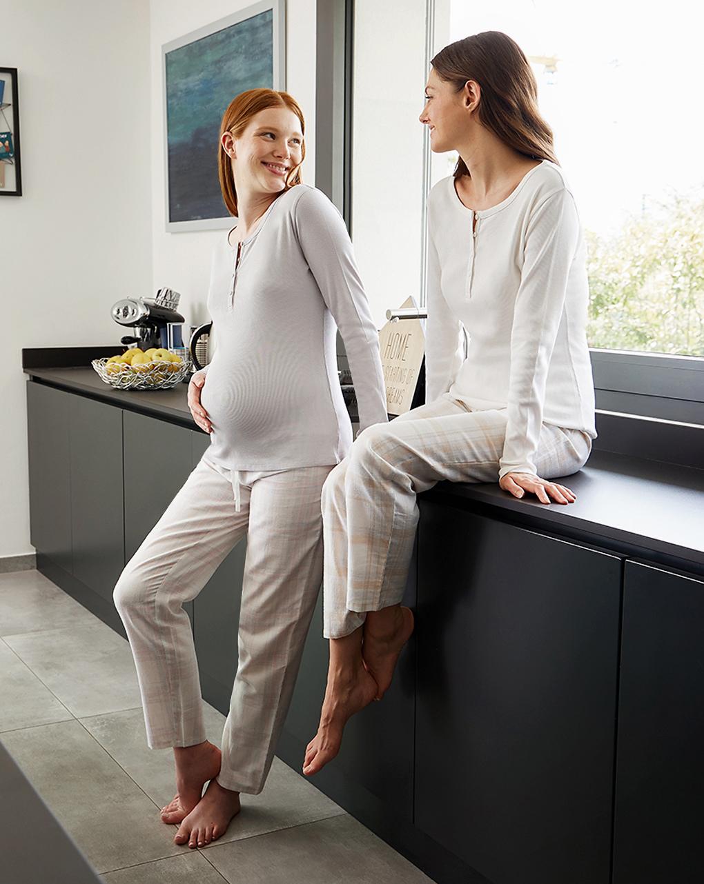 Camiseta de manga comprida de pijama de amamentação para maternidade - Prénatal