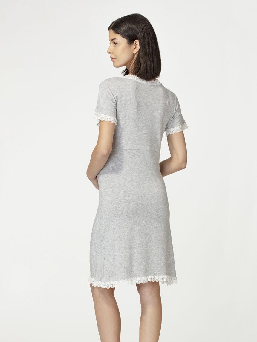 Camisa de manga curta cinza claro mélange com renda - Prénatal