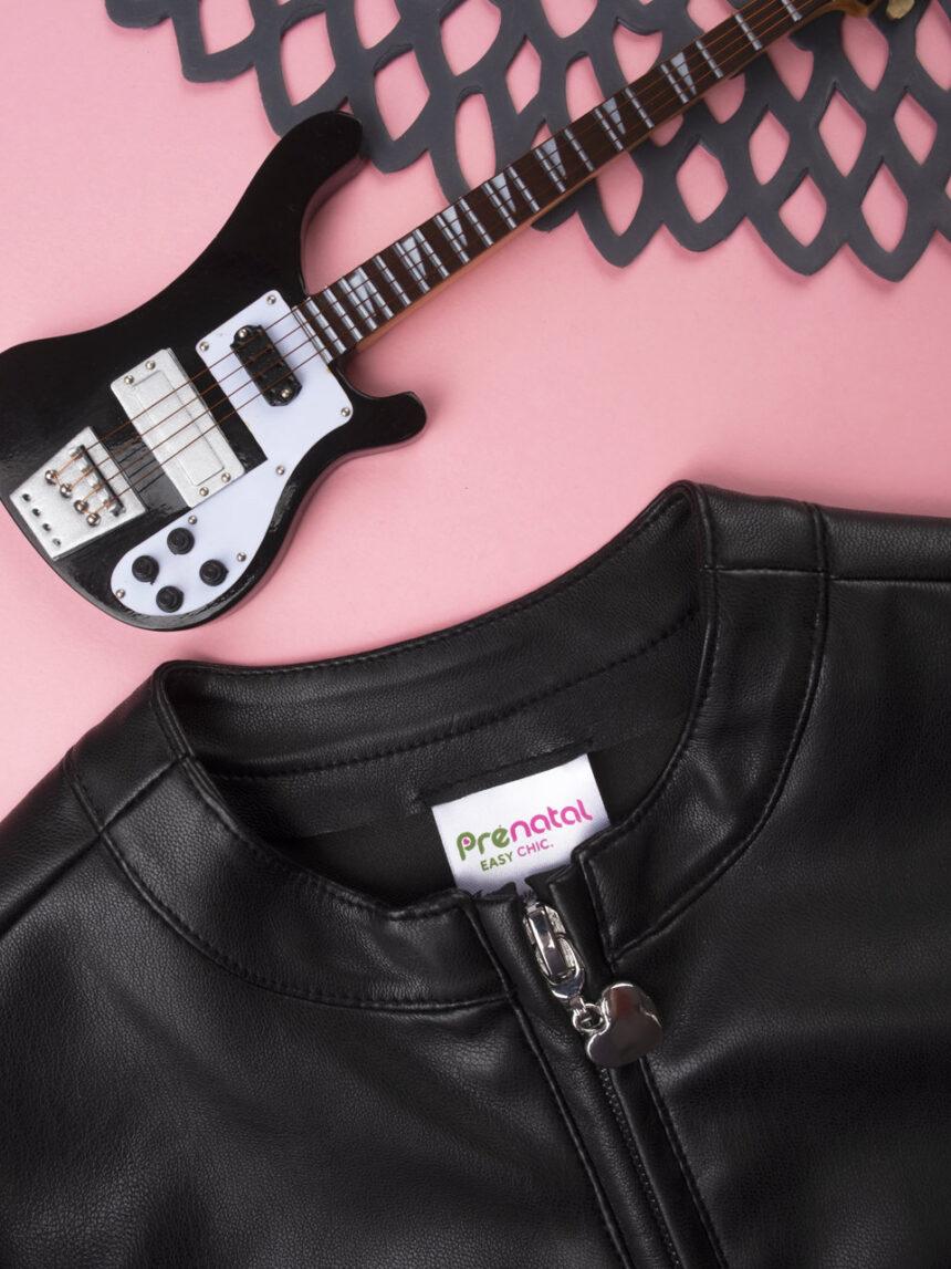 Jaqueta de couro sintética preta de menina - Prénatal